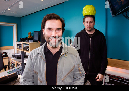 Adam Buxton and Joe Cornish, English comedians from the Adam and Joe radio show at BBC 6 Music, London, England. - Stock Photo