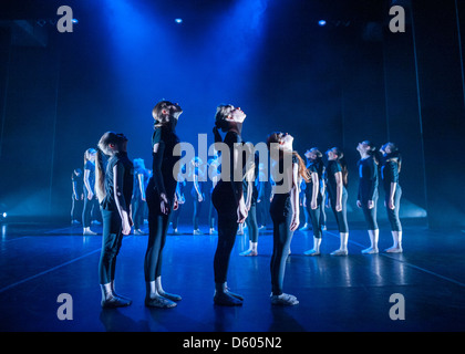 Young members of Aberystwyth Arts Centre Dance School Ballet Show dancing on stage, UK - Stock Photo