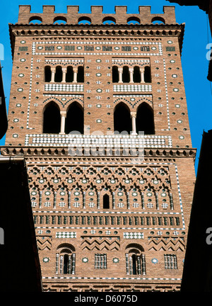Spain. Aragon. Teruel. Tower of Salvador. 14th century. Outside. - Stock Photo