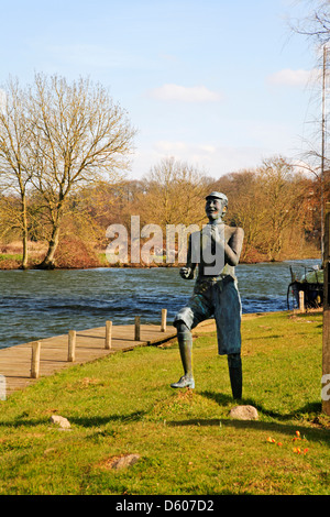 A view of the River Yare with statue of Billy Bluelight at Bramerton Woods End, Norwich, Norfolk, England, United - Stock Photo