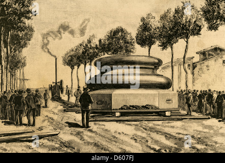 Spain. Barcelona. Movement of the plinth of the column to the monument of Christopher Columbus. Engraving. - Stock Photo