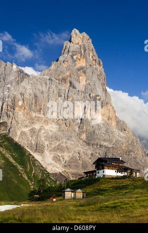 Cimon della Pala or Cimone (The Matterhorn of Dolomites) is the best-known peak of the Pale di San Martino group - Stock Photo