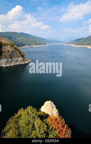 Landscape with dam lake Vidraru, Romania, Europe - Stock Photo