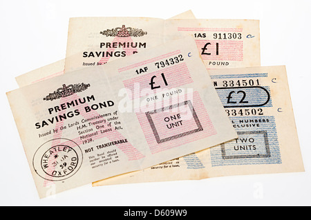 Old style Premium Bond certificates issued in the 1950s, UK - Stock Photo