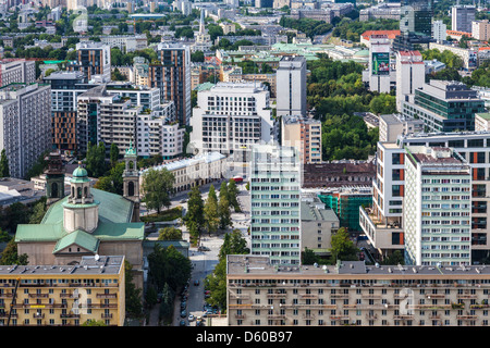View of central Warsaw from the Palace of Culture and Science, Pałac Kultury i Nauki, Poland. - Stock Photo