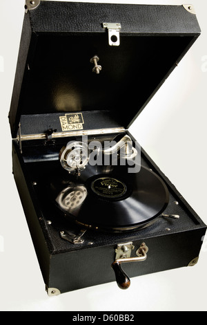 Record Player, wind-up, vintage, gramophone, Music, record, - Stock Photo