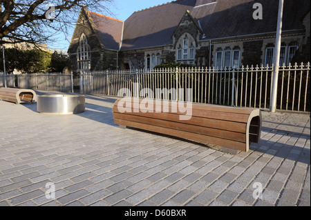 New steel and wood street furniture, Aberystwyth, Wales, UK - Stock Photo