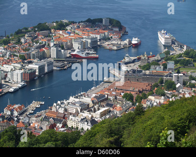 Bergen and harbor from atop Mount Floyen,Norway - Stock Photo