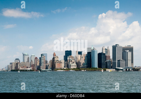 Downtown Manhattan Skyline without the former World Trade Center, New York City - Stock Photo