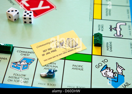Monopoly board game - get out of jail free card - Stock Photo