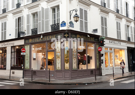 Shops in the Rue des Francs-Bourgeois in the Marais district of Paris, France - Stock Photo