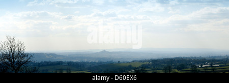 View from Whitstone Hill, Shepton Mallet, Somerset, England, looking south west towards Glastonbury tor and the Somerset Levels