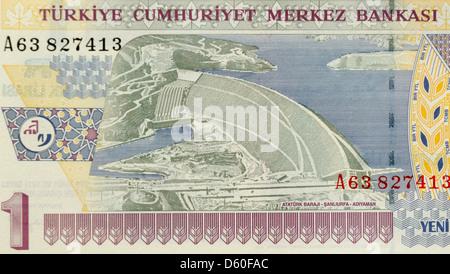 Turkey 1 One Lira Bank Note - Stock Photo