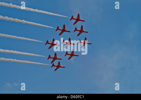 Red Arrows Display Team at Waddington 2011 - Stock Photo