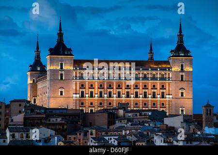 Night view of the Alcázar, Toledo, Castile La Mancha, Spain - Stock Photo