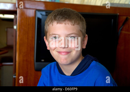 Portrait of an eight year old boy in Florida, USA. MR - Stock Photo