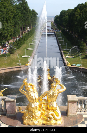 The Samson Fountain and Water Avenue at Peterhof Palace,St.Petersburg - Stock Photo