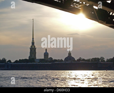 A view of Peter and Paul Fortress from under the Troitskiy Bridge,St.Petersburg - Stock Photo