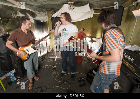 Cud, English indie band photographed rehearsing  in Old Street , London, England. - Stock Photo