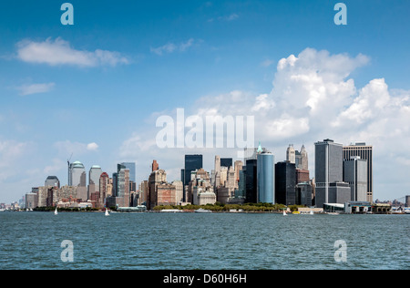 Downtown Manhattan Skyline without the former World Trade Center across Hudson river, New York City - Stock Photo