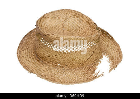 Rustic broken hat made of straw - Stock Photo
