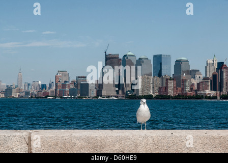 View of Lower Manhattan without former World Trade Center across Hudson River, New York, USA  -  Image taken from - Stock Photo