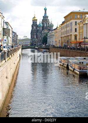 Church on The Spilled Blood,Gribovedov Canal, St.Petersburg - Stock Photo