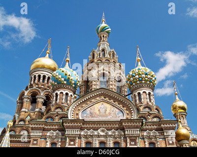 The onion domes of the Church on the Spilled Blood,Saint Petersburg - Stock Photo