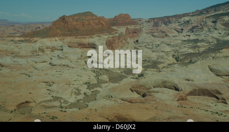 Aerial view, east to hill with red rocks, white Navajo Sandstone, Oak Creek, north slope Navajo Mountain, Lake Powell, - Stock Photo