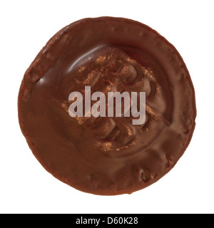 A single jaffa cake on a white background - Stock Photo