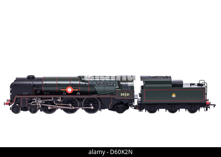 A Hornby Bournemouth Belle model steam train on a white background - Stock Photo