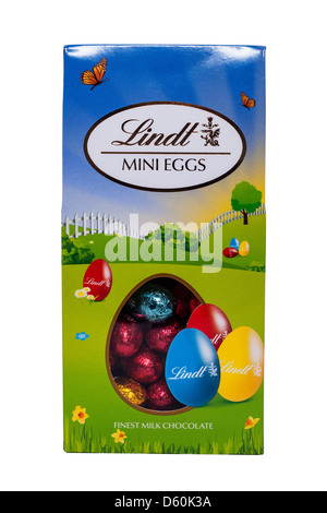 A box of Lindt chocolate mini easter eggs on a white background - Stock Photo