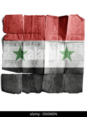 Flag of Syria on the old paper. - Stock Photo