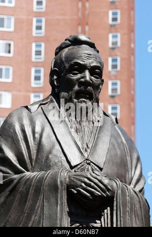 Statue of Confucius, Confucius Plaza, Chinatown, Manhattan, New York City, New York, USA - Image taken from public - Stock Photo