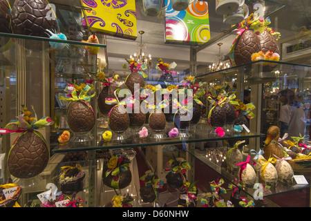 Chocolate Easter eggs on display at Daranatz Chocolatier confiseur shop window in Bayonne, Aquitaine, Southwestern - Stock Photo