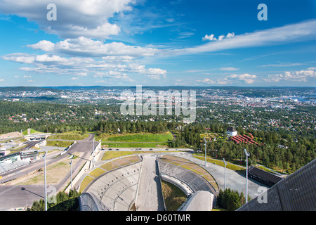 View from ski jumping arena in Oslo Norway - Stock Photo