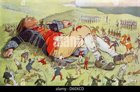 To protect themselves and to confine him, the Lilliputians tie Jonathan Swift's Guliver down to the ground; - Stock Photo
