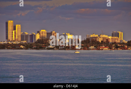 Biscayne Bay and skyline of Miami Beach, Florida, USA - Stock Photo
