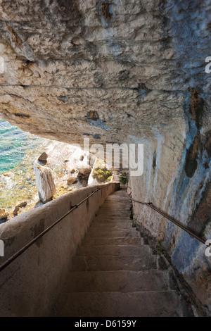France, Corsica, Bonifacio, Escalier du Roi de Aragon, King of Aragon Staircase