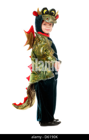 Little kid in a dragon costume - Stock Photo