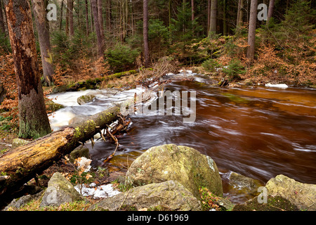 fast mountain river in Harz - Stock Photo