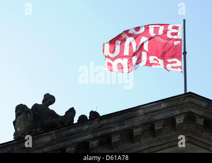 A flag reading 'Bodemuseum' waves above the Alte Nationalgalerie seen from the Spree River in Berlin,Germany, 28 - Stock Photo