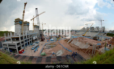 A view of the busy construction site of the Arena Corinthians soccer stadium in Sao Paulo, Brazil, 11 April 2012. - Stock Photo