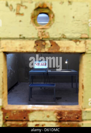 View into one of the cells in the cellar of the memorial site Leistikowstraße in Potsdam, Germany, 18 April 2012. - Stock Photo