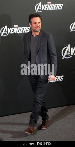American actor Mark Ruffalo poses for the camera during the 'Marvel's the Avengers' photocall in Berlin, Germany, - Stock Photo