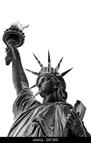Statue of Liberty, New York City, New York, United States of America, USA - black and white, isolated on white background - Stock Photo