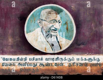 Mohandas Karamchand Gandhi 1869 – 1948 Mahatma Gandhi India India Wall Painting in Puducherry ( Pondicherry ) India Tamil Nadu