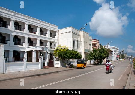 Puducherry  Pondicherry Indian India Tamil Nadu town city sea beach sand shore shoreline water coast - Stock Photo