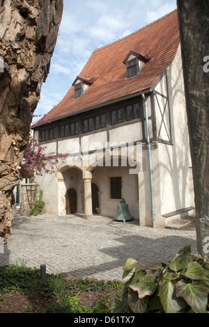 Reconstructed house and courtyard of Martin Luther's birthplace in 1483 in Eisleben, Germany, an UNESCO World Heritage - Stock Photo
