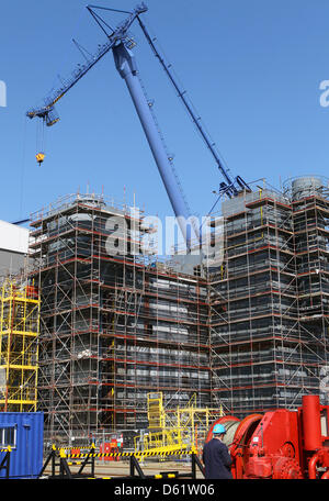 North Sea Offshore Platform Under Construction Stock Photo
